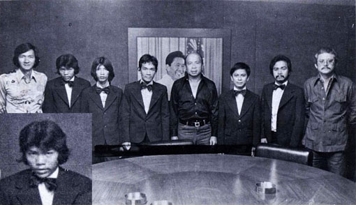 From left: Danny Tamayo, Efren Reyes, Rodolfo Luat, Jogre Dacer, Luis Tabuena, Jose Parica, Manuel Flores, Mart Cepeda; 1978 R.P. — Japan Pocket Billiard Friendship Tournament
